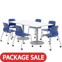 Click here for more Silver Base Cafe Table with Six Lola Armless Chairs w/ Casters by KFI by Worthington