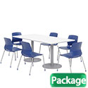Click here for more Silver Base Cafe Table with Six Lola Armless Chairs by KFI by Worthington