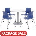 Click here for more Mode Cafe Table with Four Lola  Stack Chairs w/ Casters by Olio Designs by Worthington