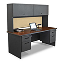 Pronto Double Pedestal Desk w/ Flipper Door Cabinet by Marvel