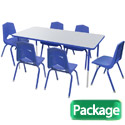 Click here for more Rectangle Activity Table with Colored Edgeband & Chair Package Set by Marco Group by Worthington