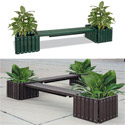 Recycled Plastic Bench with Planters by UltraPlay