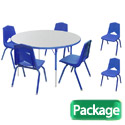 Preschool Round Activity Table & 6 Chair Package Set by Marco Group