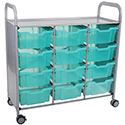 Callero Shield Antimicrobial Triple Cart with Trays by Gratnells