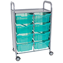 Callero Shield Antimicrobial Double Cart with Trays by Gratnells