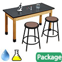 Acid Resistant Science Lab Table & Black Stool Sets by National Public Seating