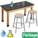 Acid Resistant Science Lab Table & Gray Stool Sets by National Public Seating
