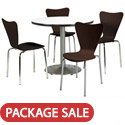 Silver Base Cafe Table with Four 3888 Stack Chairs by KFI