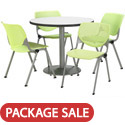 Silver Base Cafe Table with Four Kool Stack Chairs by KFI