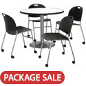 Silver Base Cafe Table with Four Mobile Stack Chairs by KFI
