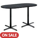 Mode Racetrack Bar Height Café Tables w/ Black X-Base by KFI