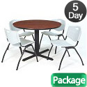Click here for more Cain Base Cafe Table and Four M Stacker 4700 Chairs by Regency by Worthington