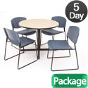Kobe Base Cafe Table and Four Zeng 4400 Chairs by Regency