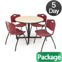 Click here for more Kobe Base Cafe Table and Four M Stacker 4700 Chairs by Regency by Worthington