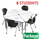 Classroom Set- 8 Triangle Apex Dry Erase Desks & Chairs by Marco Group