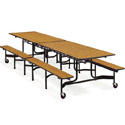 Mobile Folding Bench Cafeteria Tables w/ Black Powder Coat Frames by Virco
