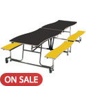 Wave Top Mobile Bench School Cafeteria Table by Amtab