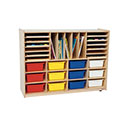 Click here for more Multi-Storage Shelf Unit with Assorted Trays by Wood Designs by Worthington