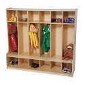 Six Section Seat Locker by Wood Designs