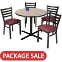 Click here for more X Base Cafe Table with Four IM3316 Padded Ladder Back Chairs by KFI by Worthington