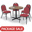 Click here for more X Base Cafe Table with Four IM520 Padded Vinyl Stack Chairs by KFI by Worthington
