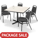 X Base Cafe Table with Four IM820 Padded Vinyl Stack Chairs by KFI