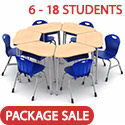 Zuma Hexagon Classroom Desk and Stack Chair Package by Virco