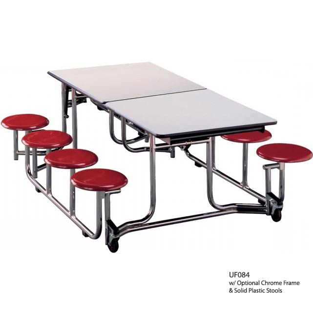 Ki Uniframe Rectangular Stool Cafeteria Table 8 L With 8 Stools Uf084 Cafeteria Tables Worthington Direct