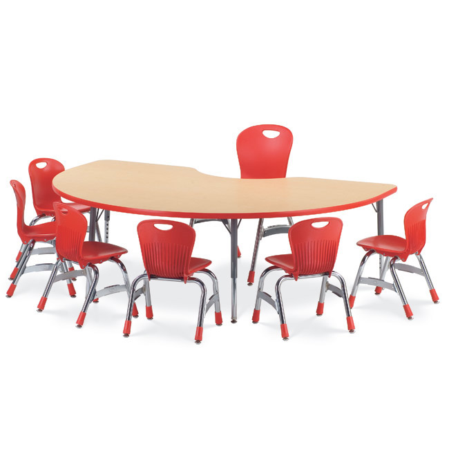Virco Color Banded Activity Table With Fusion Maple Top 48 X 72 Kidney 48kid72 Activity Tables Worthington Direct
