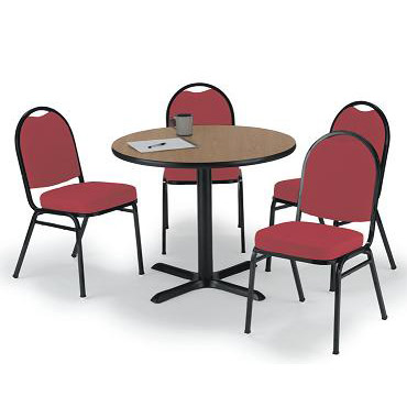 x-base-cafe-table-with-four-im520-padded-vinyl-stack-chairs-by-kfi