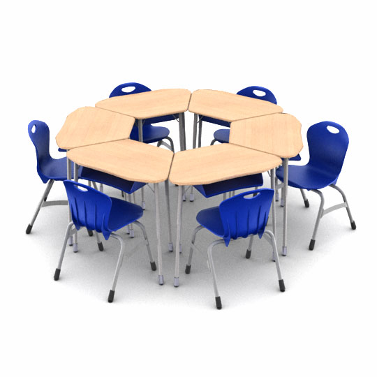 zuma-hexagon-classroom-desk-and-chair-package-6-zuma-desks-with-book-boxes-13-stack-chairs